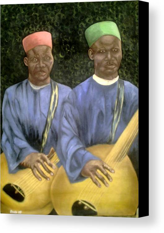 Culture Canvas Print featuring the painting Local African Guitarist by Olaoluwa Smith