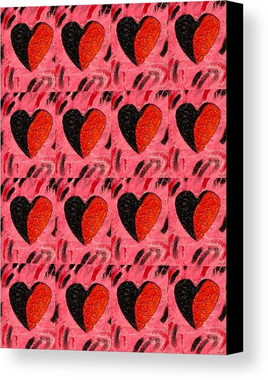 Hearts Canvas Print featuring the painting Love My Boyfriend by Nelleke Pienaar
