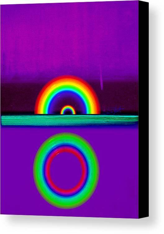 Rainbow Canvas Print featuring the painting Magenta Sunset by Charles Stuart