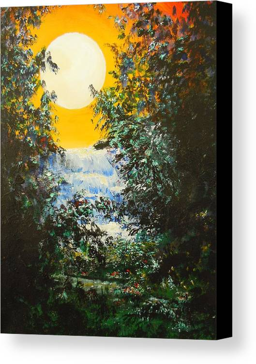 Yellow Sky Canvas Print featuring the painting Magical Moonlight by Dan Whittemore