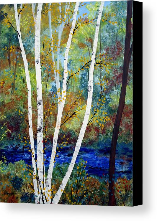 Landscape Canvas Print featuring the painting Maine Birch Stream by Laura Tasheiko