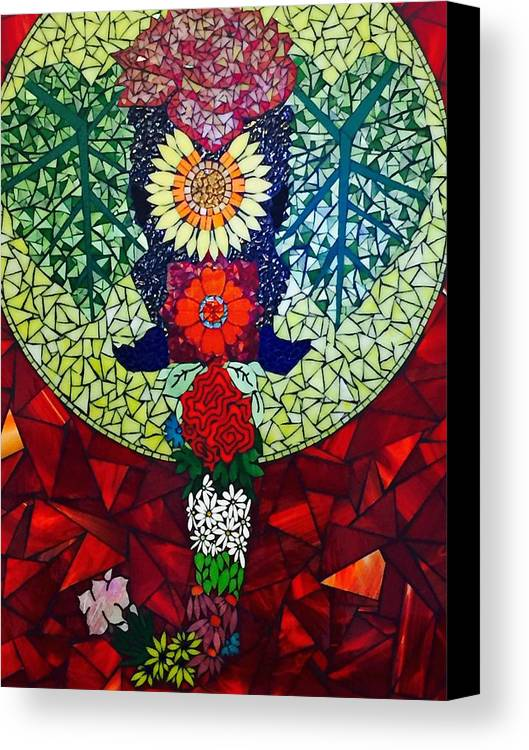 Elephant Canvas Print featuring the glass art Mama Tembo by Dianne Cutler