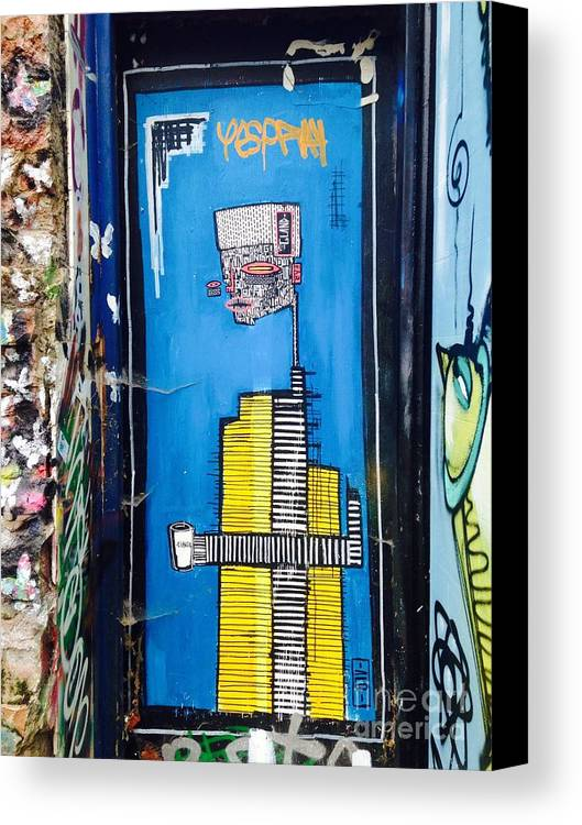 Graffiti Canvas Print featuring the photograph Man In Yellow by Melissa Stephenson