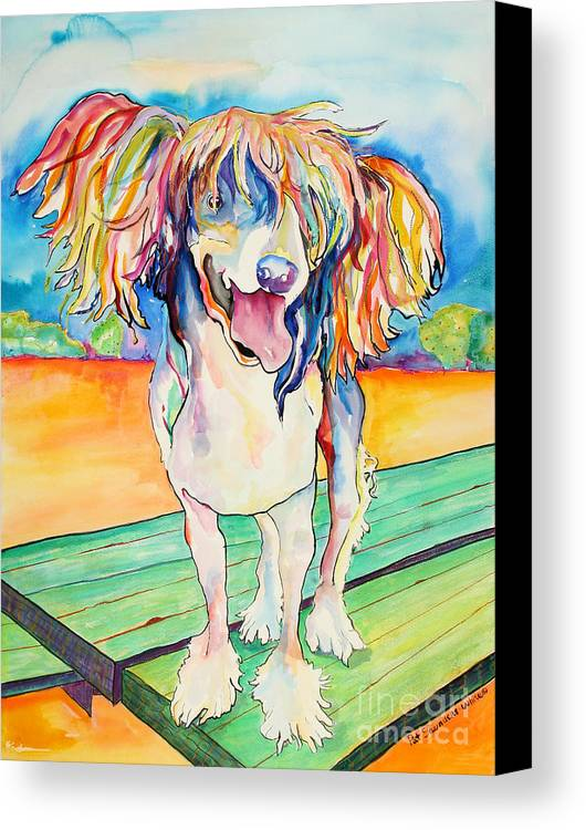 Chinese Crested Canvas Print featuring the painting Mango Salsa by Pat Saunders-White