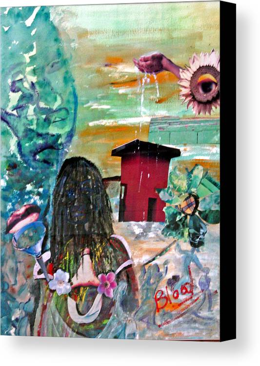 Water Canvas Print featuring the painting Masks Of Life by Peggy Blood