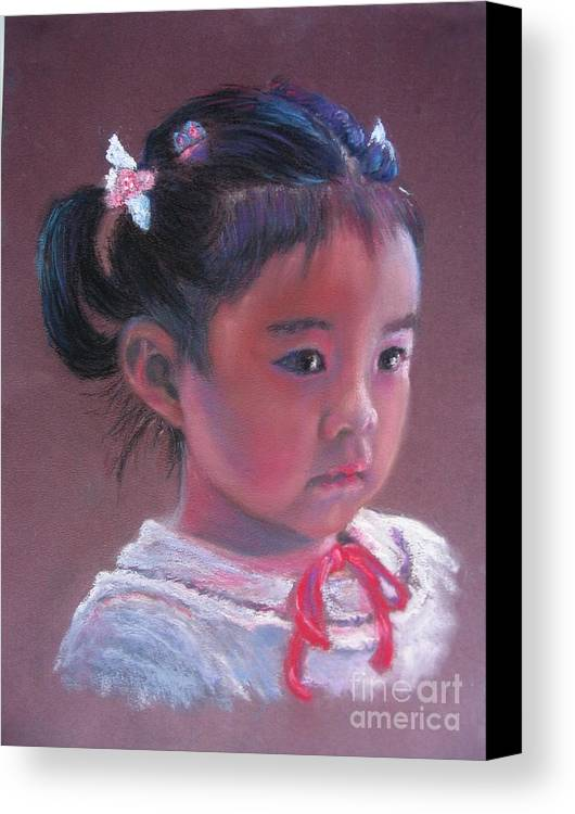 Girl Canvas Print featuring the painting Mei Lan Beautiful Orchid by Shirley Leswick