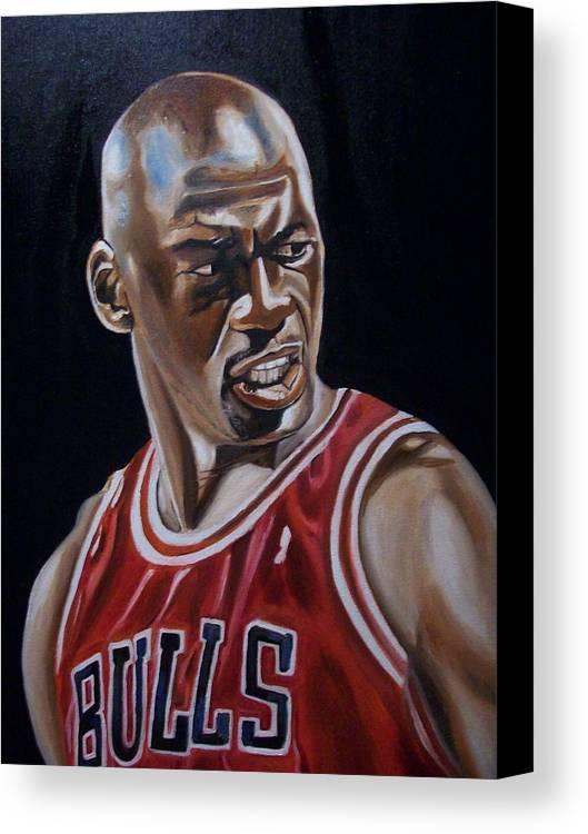 Michael Jordan Painting Canvas Print featuring the painting Michael Jordan by Mikayla Ziegler