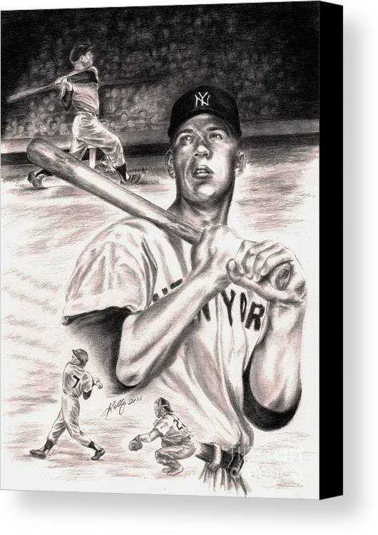 Mickey Mantle Portrait Canvas Print featuring the drawing Mickey Mantle by Kathleen Kelly Thompson