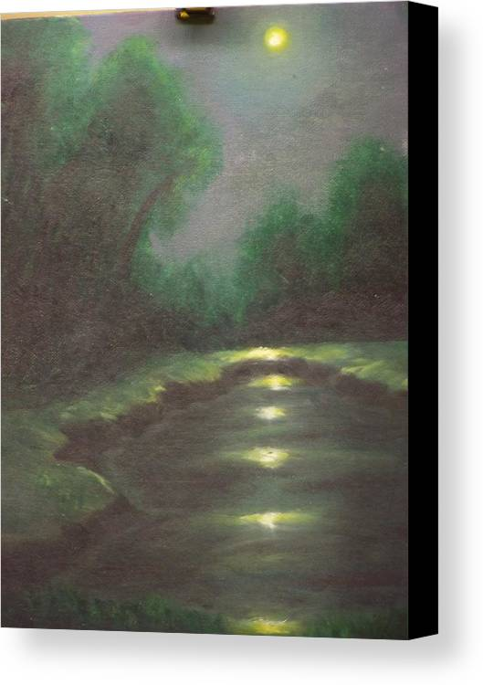 Landscape Canvas Print featuring the painting Midnight Hour by Charles Vaughn