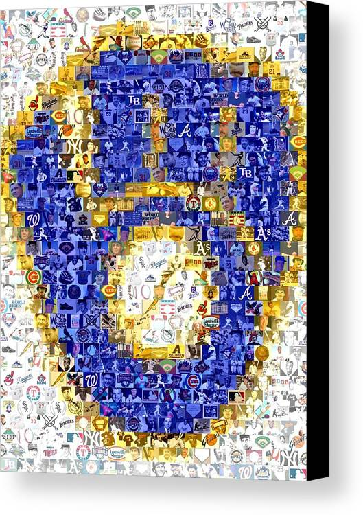 Milwaukee Brewers Canvas Print featuring the drawing Milwaukee Brewers Mosaic by Paul Van Scott