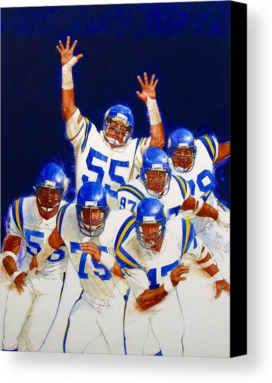 Acrylic Painting Canvas Print featuring the painting Minnesota Vikings Front Four by Cliff Spohn