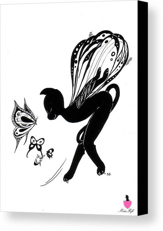 Miss Fifi Canvas Print featuring the drawing Miss Fifi Is Given Wings by Silvia Duran