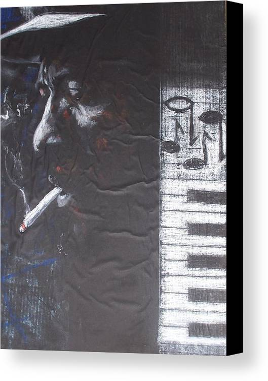 Thelonious Monk Canvas Print featuring the drawing Monk In Black And White by Darryl Hines