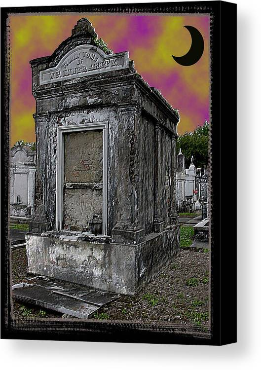 New Orleans Canvas Print featuring the photograph Moonlit Cemetary by Linda Kish