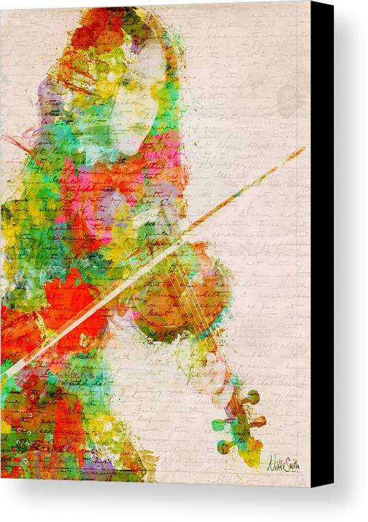 Violin Canvas Print featuring the digital art Music In My Soul by Nikki Smith