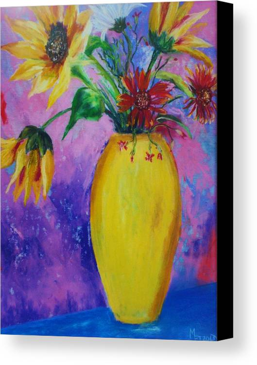 Sunflowers Canvas Print featuring the painting My Flowers by Melinda Etzold