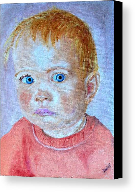 Leonie Canvas Print featuring the painting My Granddaughter Leonie by Helmut Rottler