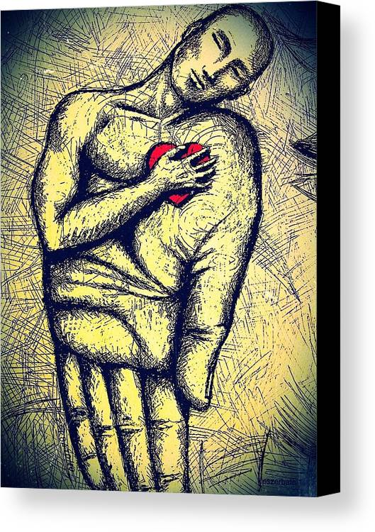 My Heart In Your Hand Canvas Print featuring the digital art My Heart In Your Hand by Paulo Zerbato