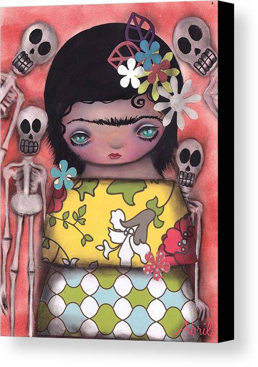 Frida Kahlo Canvas Print featuring the painting My Only Friends by Abril Andrade Griffith