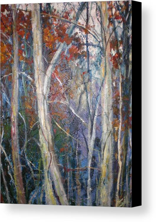Landscape Canvas Print featuring the painting Mysterious Forest by Sheila Holland