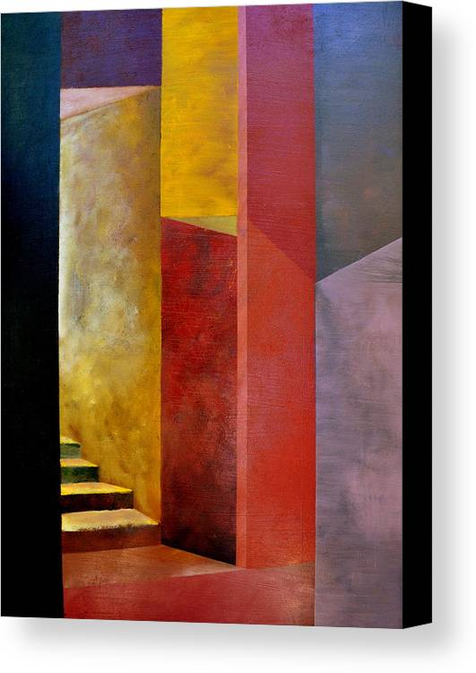 Gold Canvas Print featuring the painting Mystery Stairway by Michelle Calkins