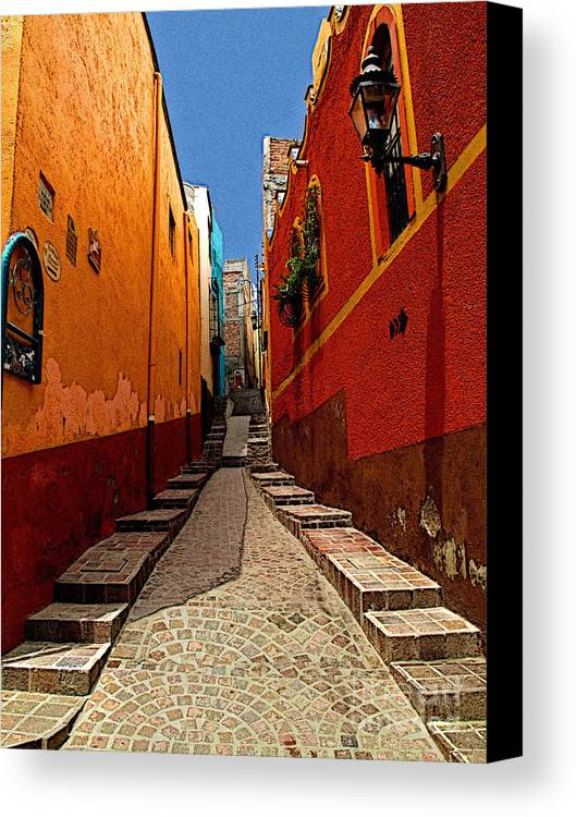 Darian Day Canvas Print featuring the photograph Narrow Passage by Mexicolors Art Photography