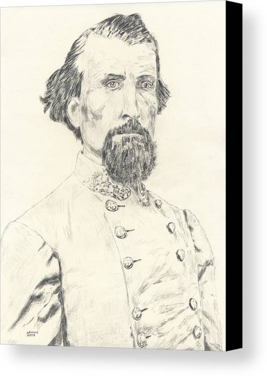 Forrest Canvas Print featuring the drawing Nathan Bedford Forrest by Dennis Larson