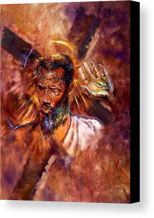 Religious Canvas Print featuring the painting No Excuses by Tommy Winn