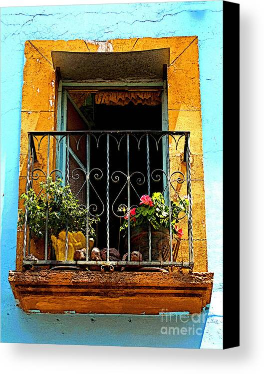 Darian Day Canvas Print featuring the photograph Ochre Window In Turqoise by Mexicolors Art Photography