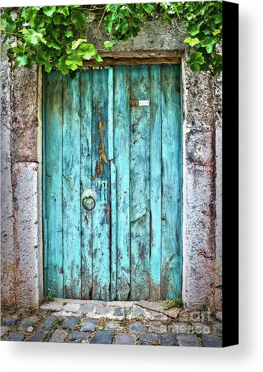 Door Canvas Print featuring the photograph Old Blue Door by Delphimages Photo Creations
