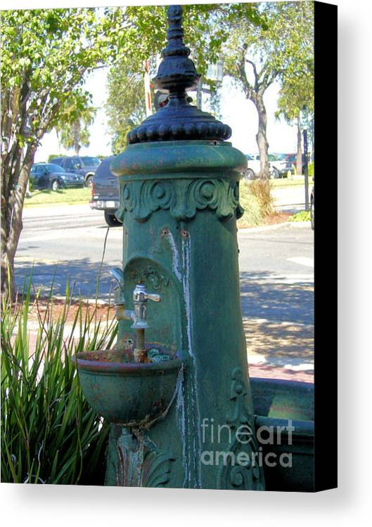Antique Canvas Print featuring the photograph Old Drinking Fountain by Barbara Oberholtzer