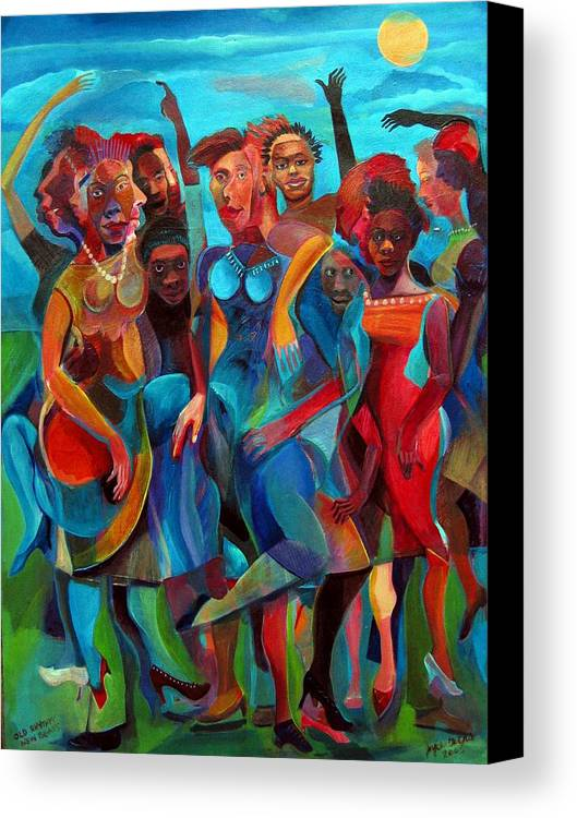 Figures Canvas Print featuring the painting Old Rhythms New Beats by Joyce Owens
