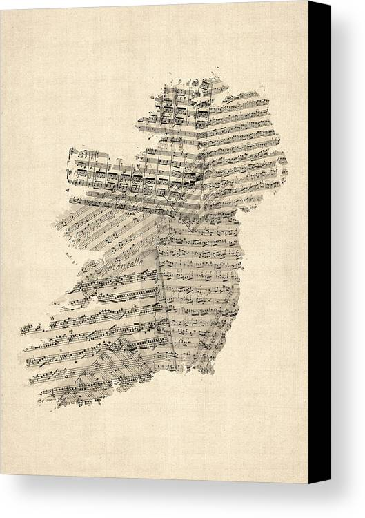 Ireland Map Canvas Print featuring the digital art Old Sheet Music Map Of Ireland Map by Michael Tompsett