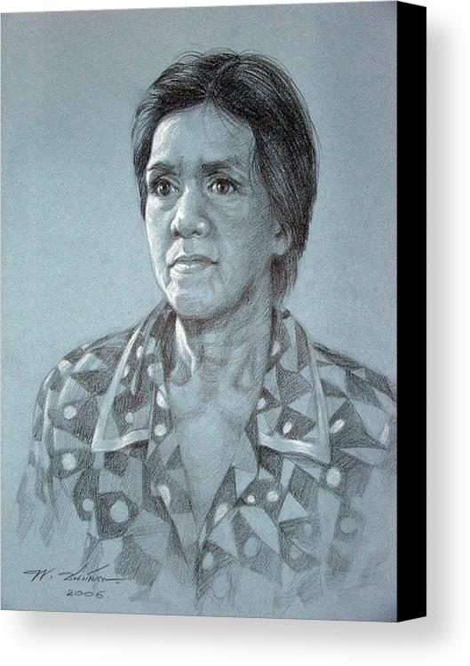Old Woman Canvas Print featuring the painting Old Woman by Chonkhet Phanwichien