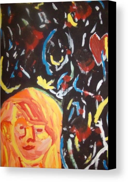Girl Canvas Print featuring the painting On This Sleepless Night by Samantha Gilbert