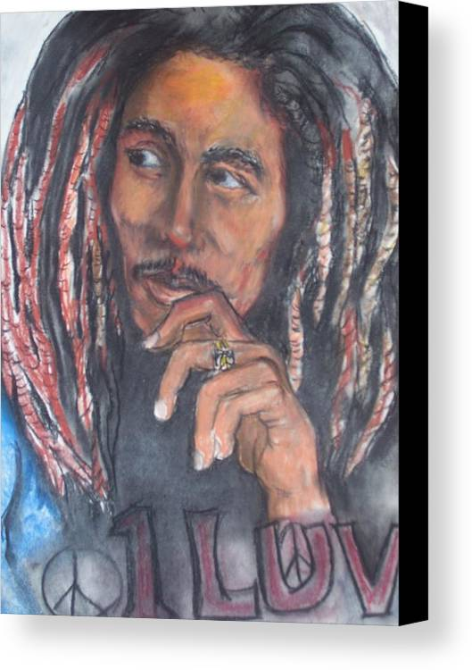 Bob Marley Canvas Print featuring the print One Luv by Darryl Hines