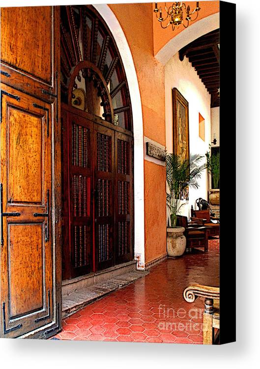 Darian Day Canvas Print featuring the photograph Open To The Courtyard by Mexicolors Art Photography