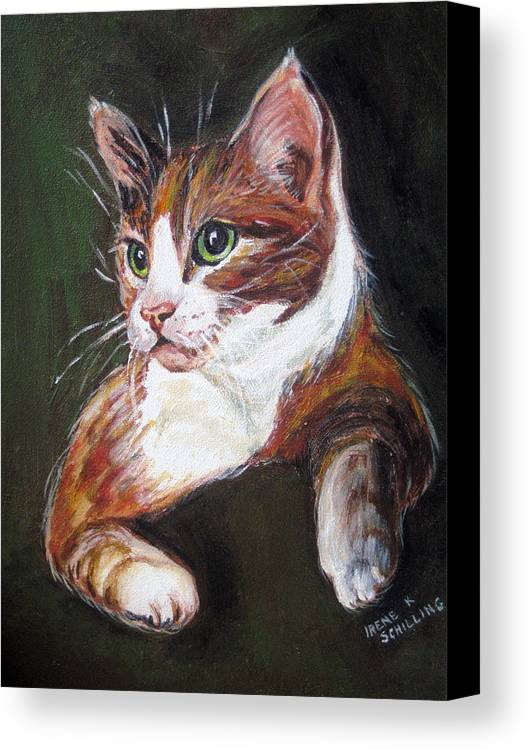 Cat Canvas Print featuring the painting Orange Kitty by Irene Schilling
