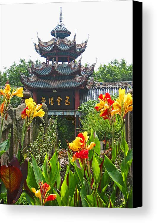 Pagoda Canvas Print featuring the photograph Pagoda With Flowers by Angela Siener