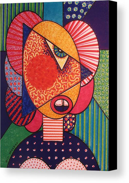 Cubissm Canvas Print featuring the painting Painted Woman by Bill Meeker