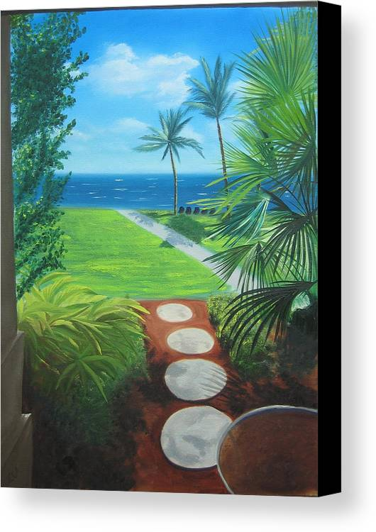 Seascape Canvas Print featuring the painting Paradise Beckons by Lea Novak