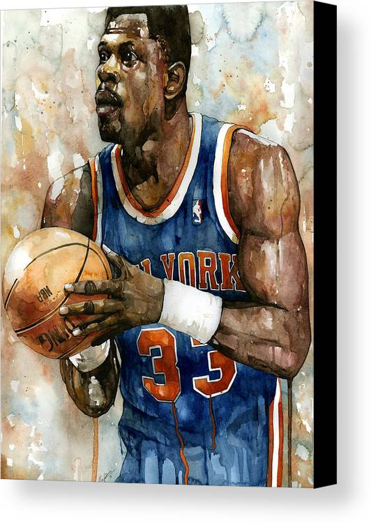 Patrick Ewing Canvas Print featuring the painting Patrick Ewing by Michael Pattison