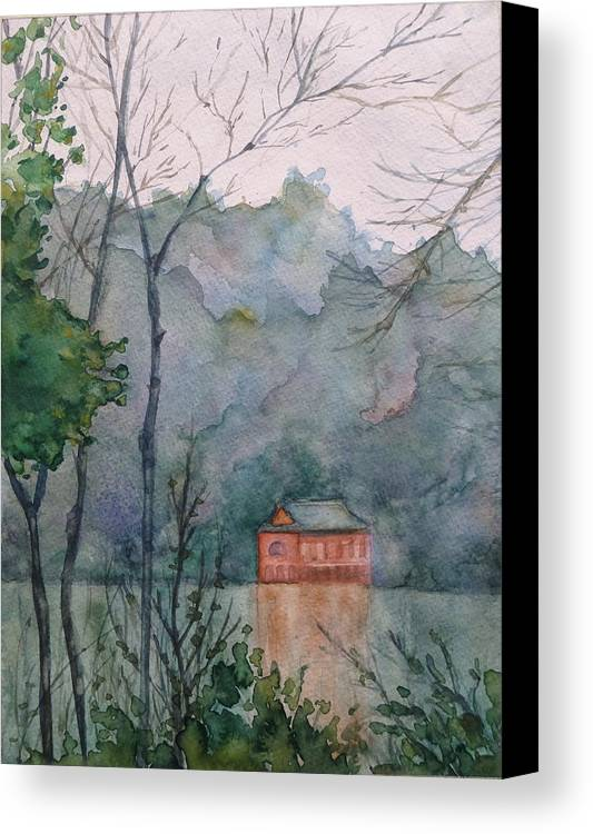 China Canvas Print featuring the painting Pavilion At River's Edge China by Robert Tiefenwerth