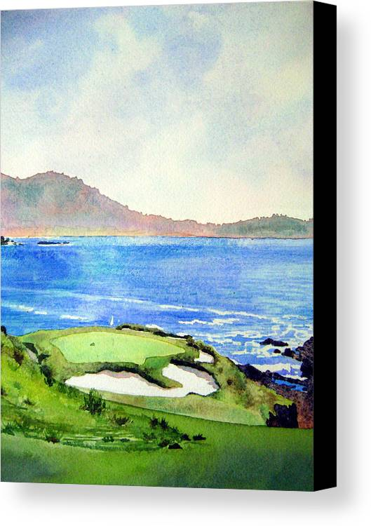 Transparent Watercolor Landscape Pebble Beach Golf Course 7th Hole. Us Open Ocean Marine Seascape At&t Pebble Beach Pro-am Canvas Print featuring the painting Pebble Beach Gc 7th Hole by Scott Mulholland