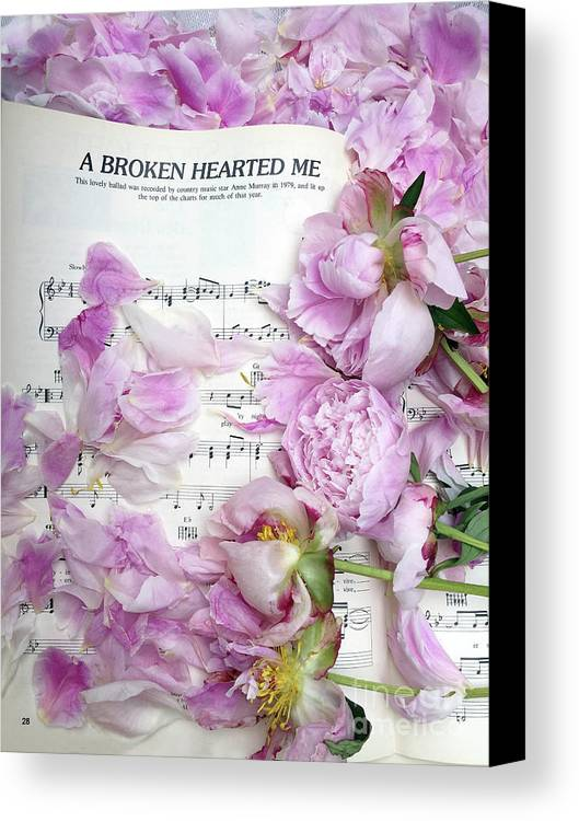 Peony Floral Flatlay Prints Canvas Print featuring the photograph Peonies On Music Sheet - Pink Peonies Shabby Chic Inspirational Print - Peony Home Decor by Kathy Fornal