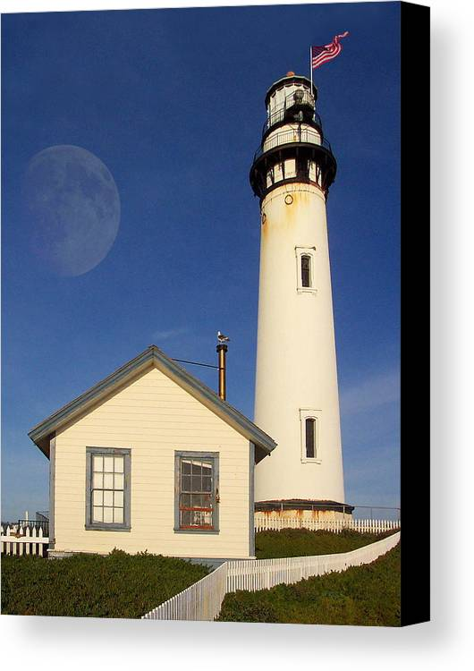 Lighthouse Canvas Print featuring the photograph Pigeon Point Lighthouse by Wingsdomain Art and Photography