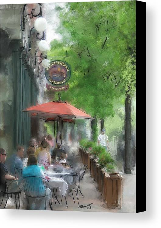 Summer Tea Painting Street Oil Envy Chairs Cafe Sunday Umbrella Canvas Print featuring the painting Point Of View by Eddie Durrett