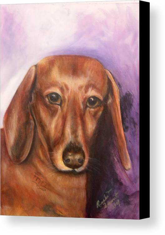 Pet Portrait Canvas Print featuring the painting Portrait Of Fritz - Commissions Accepted by Renee Dumont Museum Quality Oil Paintings Dumont