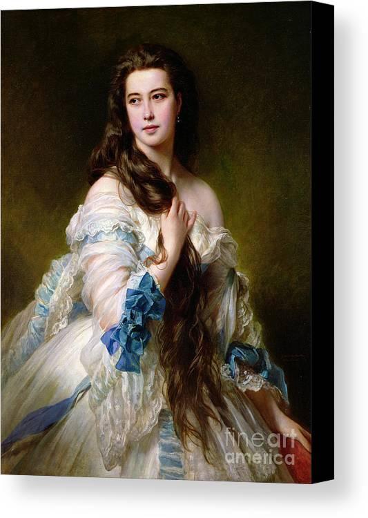 Portrait Canvas Print featuring the painting Portrait Of Madame Rimsky Korsakov by Franz Xaver Winterhalter