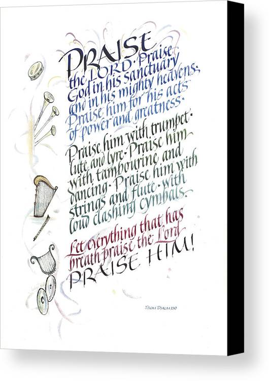 Achievement Canvas Print featuring the painting Praise The Lord by Judy Dodds